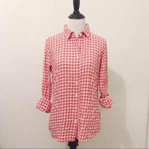 J. Crew Perfect Fit Red/White Gingham Button Down